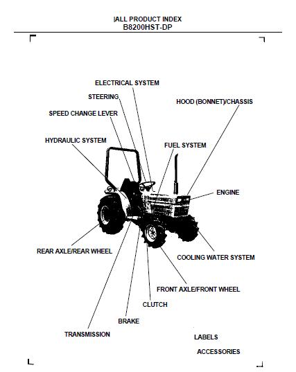 Kubota B8200HST-DP Tractor Illustrated Master Parts List