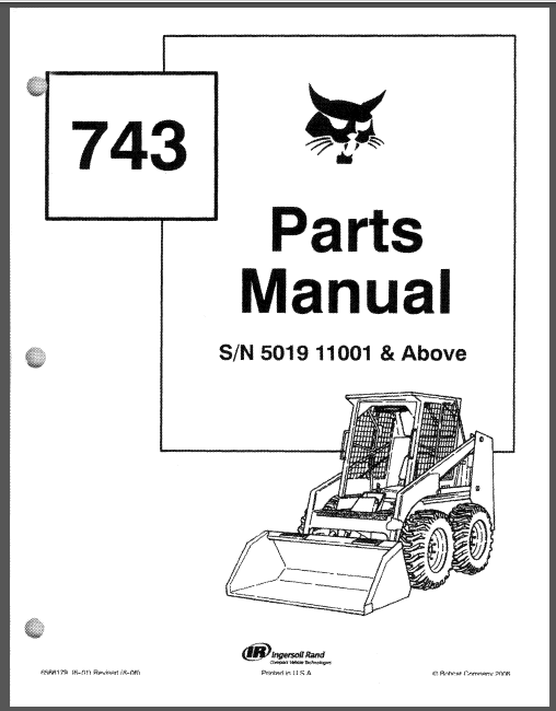 Bobcat 743 Skid Steer Loader Master Parts Catalog Manual