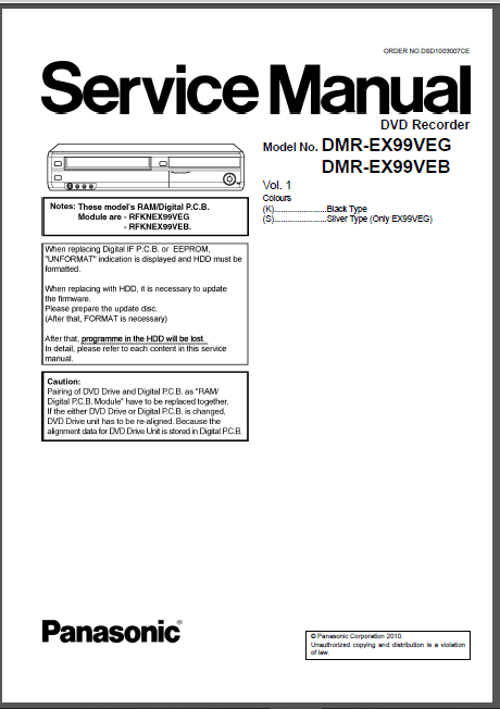 Panasonic Dmr ex99v Ex99veb Ex99veg Service Manual And