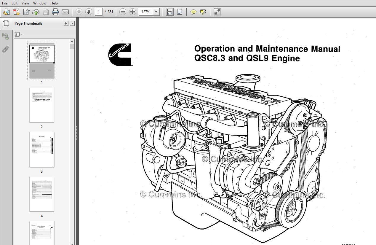 Cummins QSC8.3 and QSL9 Engine series Operation and