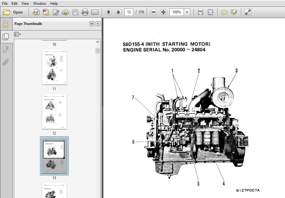 KOMATSU 155-4 SERIES DIESEL ENGINE SERVICE REPAIR MANUAL