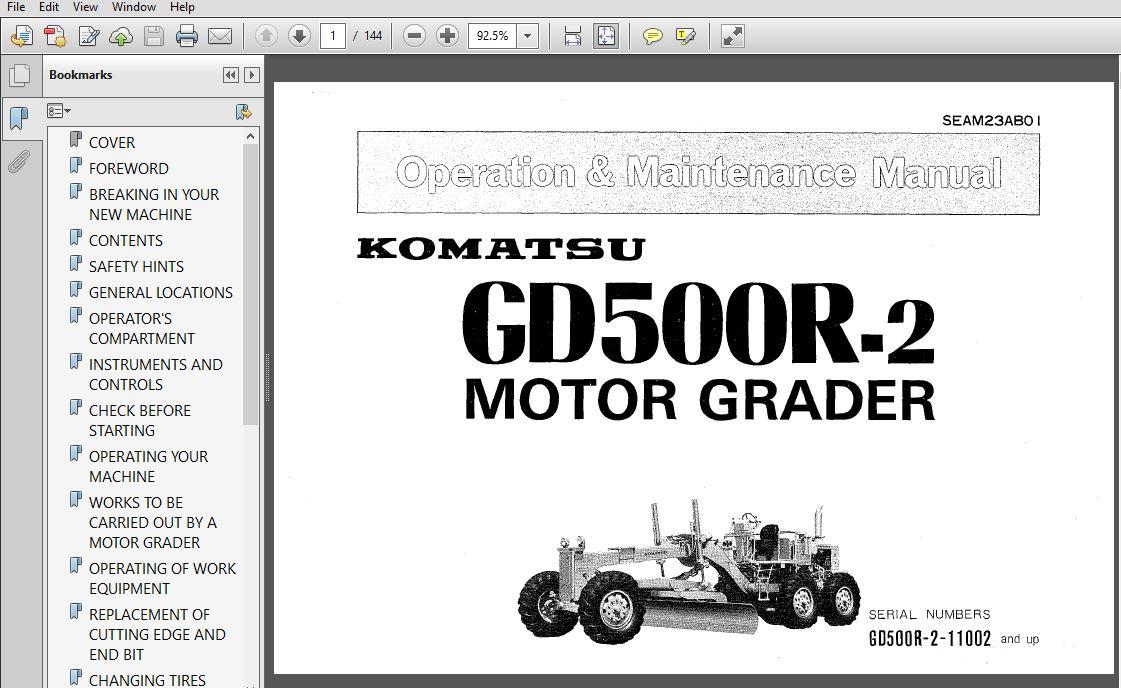 KOMATSU GD500R-2 MOTOR GRADER OPERATION & MAINTENANCE