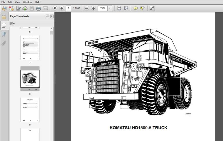 KOMATSU HD1500-5 DUMP TRUCK SERVICE REPAIR MANUAL (SN