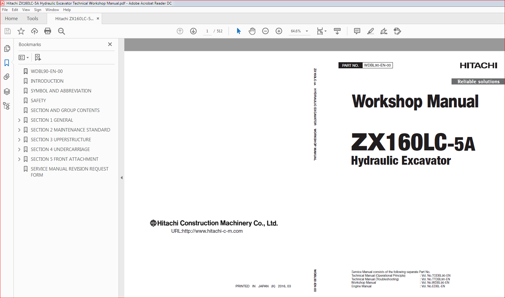 Hitachi ZX160LC-5A Hydraulic Excavator Technical Workshop