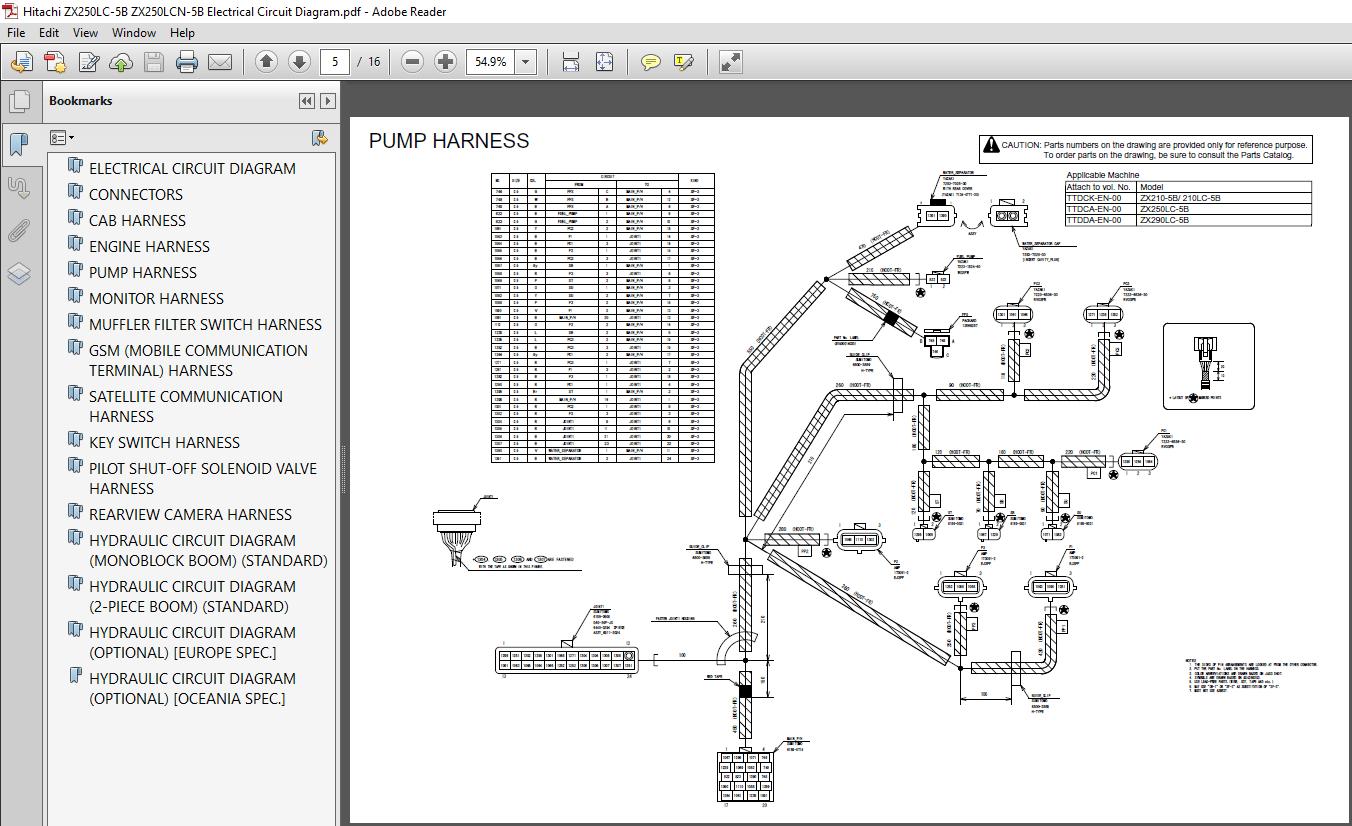 Hitachi ZX250LC-5B ZX250LCN-5B Electrical Circuit Diagram