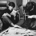 Beatles reading mail