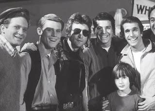 John and Julian Lennon on the set of Happy Days