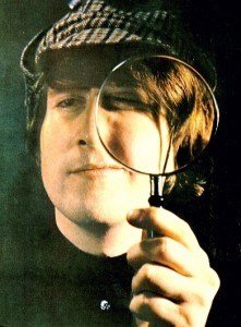 Lennon with magnifying glass