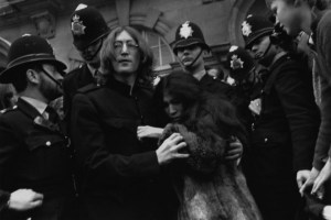John Lenno and Yoko Ono in 1968, after being charged with drug possession