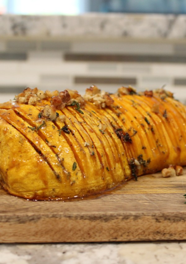 Honey Walnut Hasselback Butternut Squash Recipe