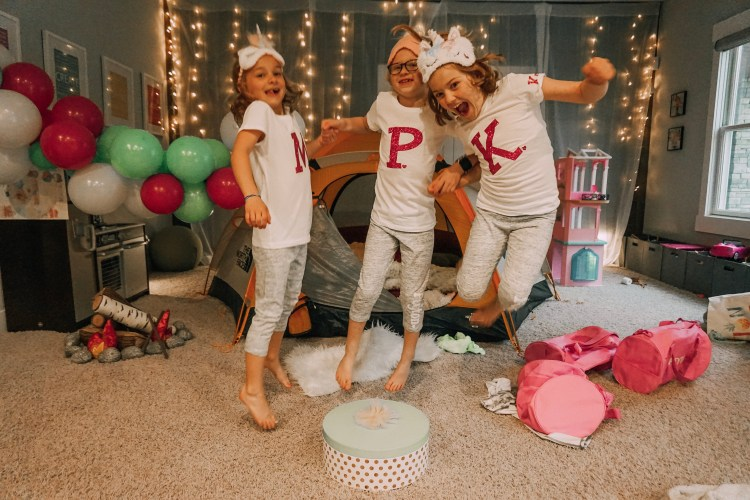 camp-in party birthday personalized pajamas