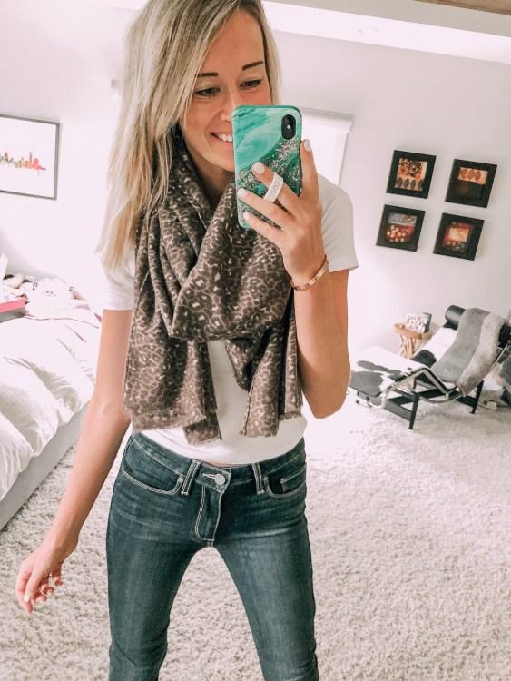 something navy leopard scarf