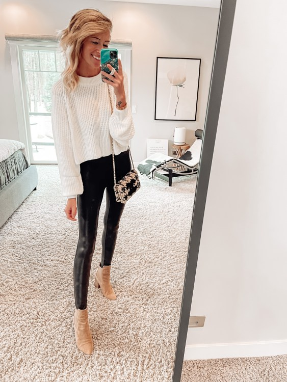 outfits with spanx faux leather leggings