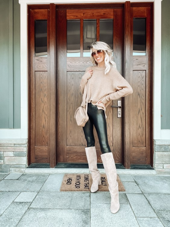 fall outfit ideas tall boots spanx leggings