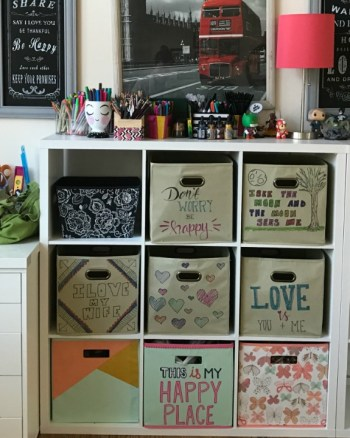 Make Your Own Cute Canvas Storage Bins with Sharpies!