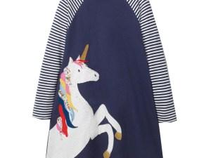 Robe d'hiver bleue enfant - Robe licorne blanche