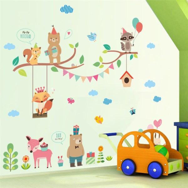Stickers muraux décoration chambre bébé enfant - Thème animaux qui font la fête