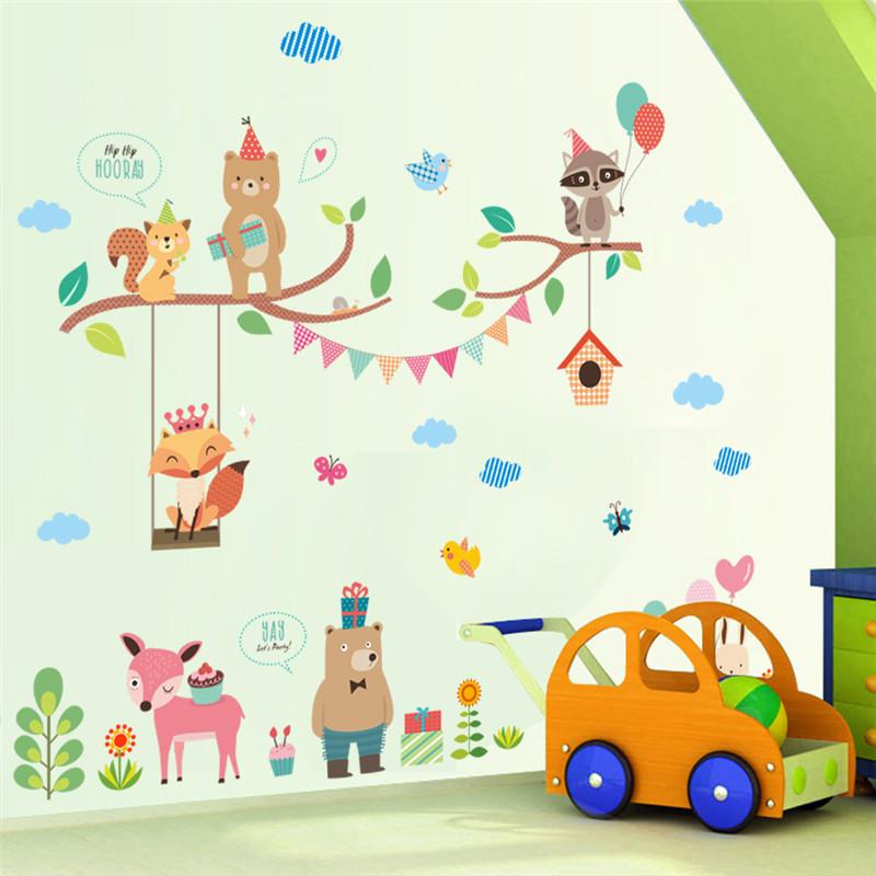 Sticker Mural Chambre Bébé Animaux En Fête Ours Lion Lapin