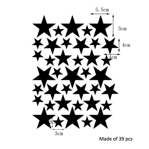 Dimensions stickers étoiles noires - déco chambre bébé enfant