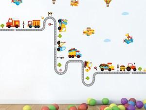 Sticker mural décoration murs chambre bébé garçon - Camions pompiers, BTP sur la toute et avions