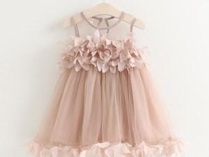 Robe de célébration fille - couleur rose - mi-longue - robé été