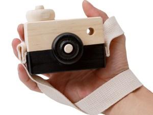 Appareil photo jouet en bois couleur noir