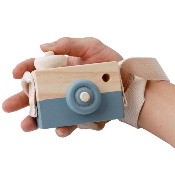 Appareil photo jouet en bois couleur bleu gris