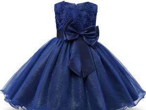 Robe fille enfant célébration - couleur bleu marine - robe avec nœud papillon