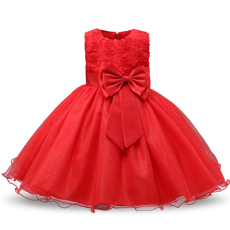 Robe fille enfant célébration - couleur rouge - robe avec nœud papillon