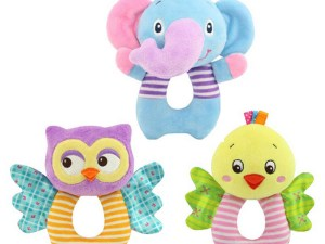 Hochets bébé éléphant, hibou ou oiseau
