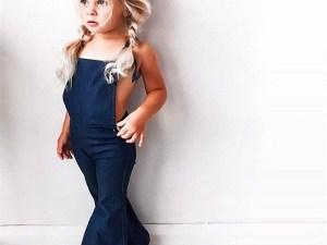 Salopette fille / bébé couleur bleu avec pattes d'éléphant