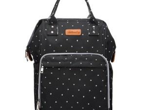 Superbe sac à langer noir à petits pois blancs