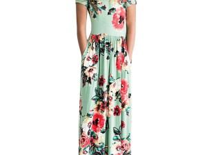 Robe d'été longue - Robe verte avec des fleurs - Robe longue jusqu'aux pieds