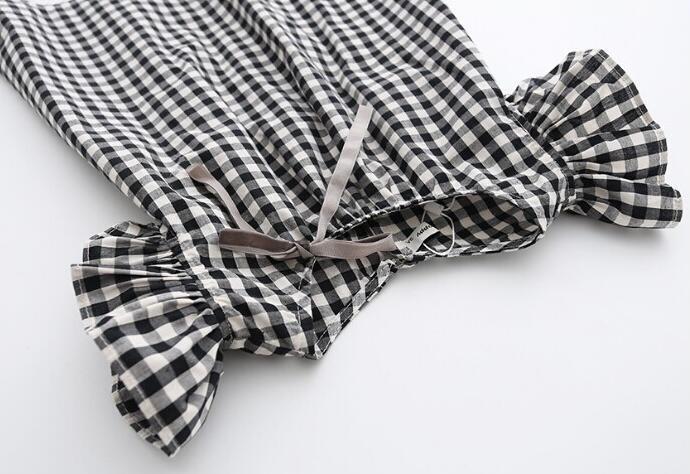 Robe pour fille noir et blanc à carreaux, manches courtes, robe légère