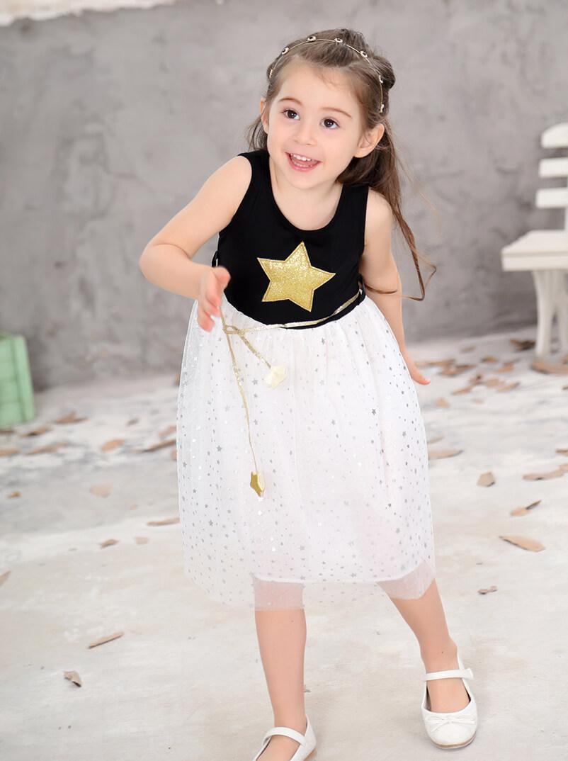 Robe fille sans manches - Couleur noir et blanc avec motifs étoiles en or et argent