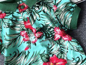 Polo garçon couleur vert avec motifs florals