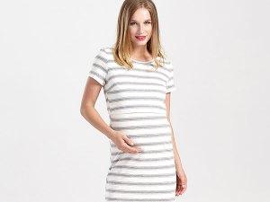 Robe rayures gris et blanc pour femme enceinte