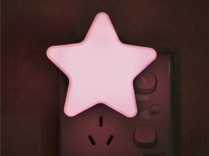 Veilleuse murale étoile rose