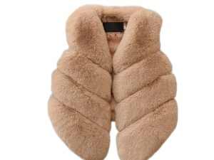 Gilet fille imitation fourrure beige