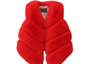Gilet fille imitation fourrure rouge