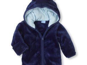 Veste bébé velours bleu marine
