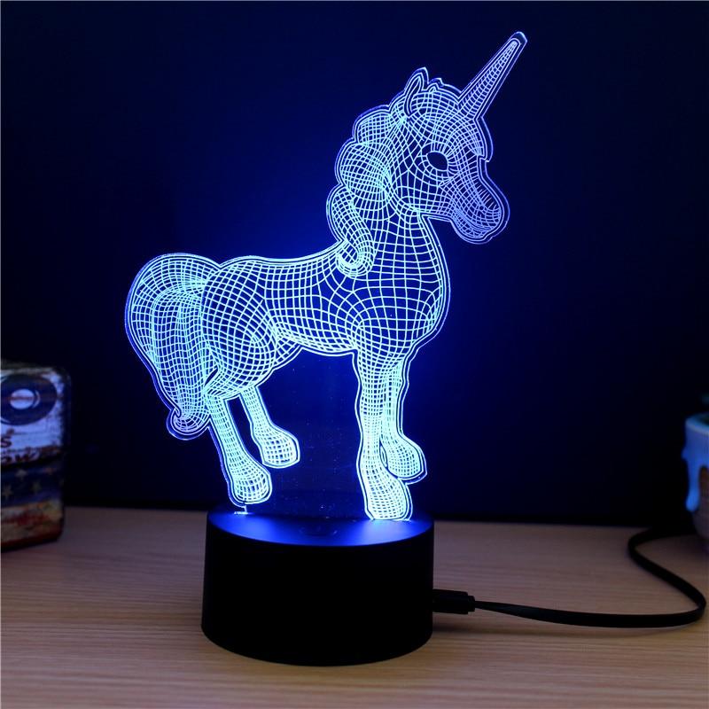 Lampe décorative licorne 3D lumière bleue