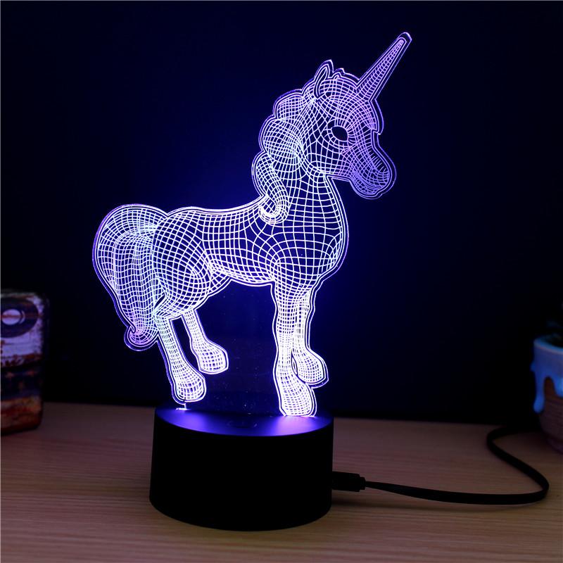 Lampe décorative licorne 3D lumière mauve