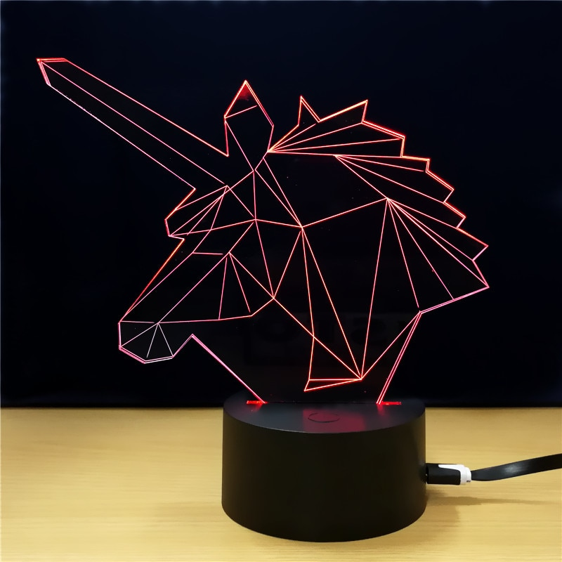 Lampe licorne 3D lumière rouge