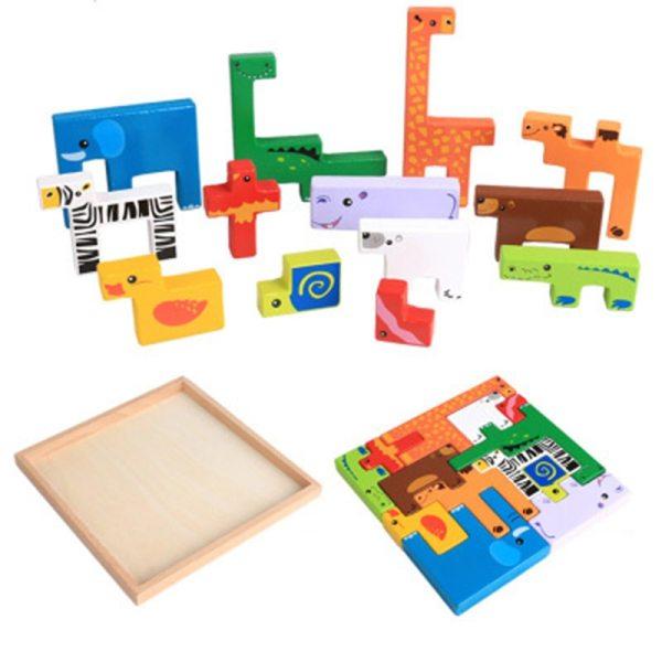 Blocs en bois - Formes d'animaux
