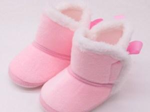 Bottines en suédine bébé - couleur rose