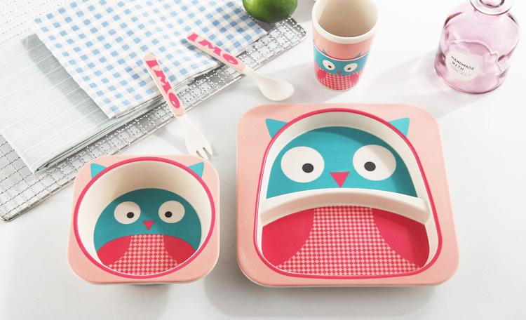 Vaisselle bébé bambou - Modèle hibou