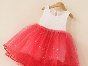 Robe tutu rouge et blanc pour fille