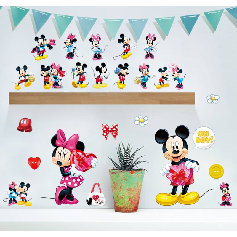 stickers muraux mickey et minnie decoration chambre enfant bebe