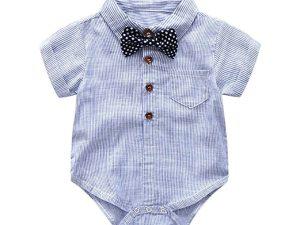 Chemise bleue avec nœud papillon pour bébé garçon